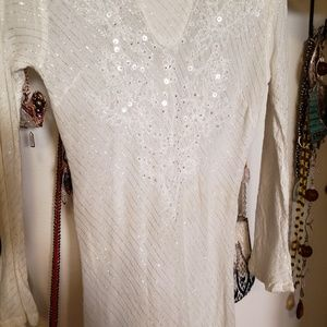 Free People Tops - Long offwhite cotton top with sequins and beads